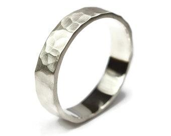 Men's Hammered Wedding Ring, Vintage Silver Wedding Band, Hammered Rock Texture Ring Band, Matte Engraved Ring, Hammered Promise Ring