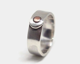 Antique Copper and Silver Band Ring Unique Mens Wedding Band Ring Unique Engagement Silver Ring. Gift for Him