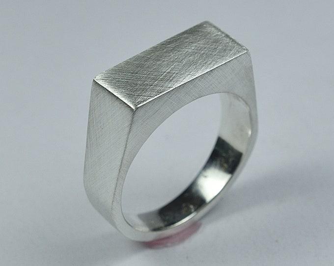 Men's Silver Signet Ring. Rectangle Silver Signet Ring. Signet Ring Matte Finish