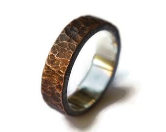 Antique Meteorite Copper Wedding Ring. Mens Antique Rustic Wedding Ring. Custom Meteorite Ring. Antique Oxidized Meteorite Ring 6mm
