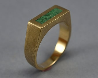 Unique Malachite and Brass Ring Men, Men's Green Malachite and Brass Geometric Ring, Malachite Inlay Brass Ring Matte Finish