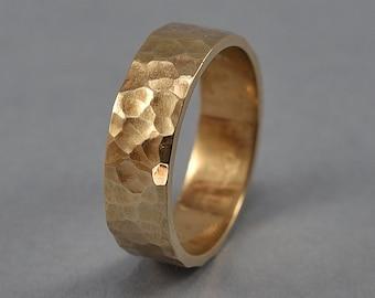 Rustic Hammered Golden Bronze Wedding Ring, Men's Hammered Bronze Band Ring, Custom Engraving, Martele Texture Polished Ring 6mm