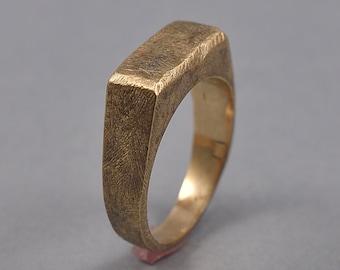 Antique Brass Signet Ring. Men's Brass Signet Ring. Men's Antique Brass Ring. Antique Brass Signet Ring for Men