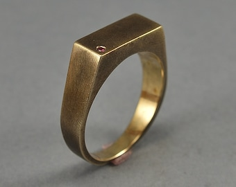 Men's Antique Signet Ring With Ruby. Brass Antique Signet Ring. Custom Ring With Ruby. Personalized Rectangle Ring