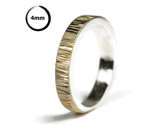 Mens Gold Promise Ring Tree Bark. Mens Gold Ring Nature. Gold and Silver Wedding Band Ring Tree Bark, Matte Finish. Flat Shape 4mm