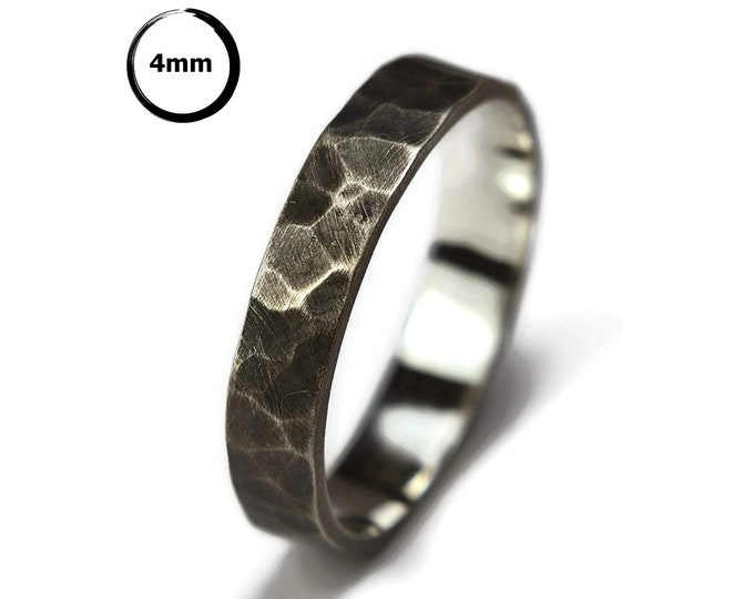 Mens Antique Hammered Silver Wedding Band Ring. Dark Oxidized Finish. Antique Style. Flat Hammered Shape 4mm