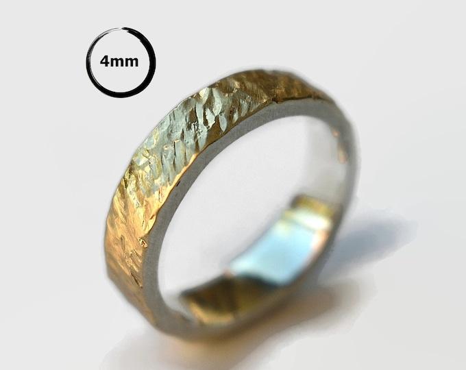 Mens Meteorite Gold&Silver Wedding Band Ring. Mens Rustic Gold Wedding Band Ring. Gold Meteorite Wedding Ring Matte 4mm