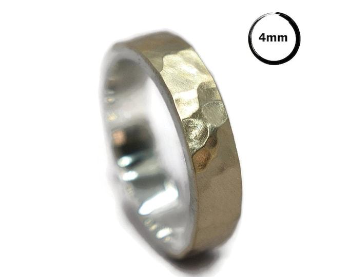 Mens Hammered Matte 9k Gold and Silver Wedding Band Ring Rustic Hammered 9k Gold Wedding Band Ring for Men Modern Gold Ring Gift for Him 4mm