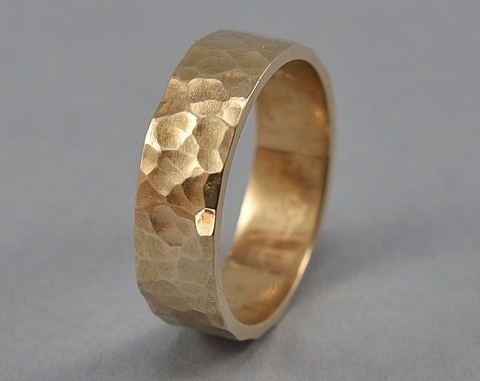 Rustic Hammered Brass Wedding Band, Men's Hammered Brass Band Ring, Custom Engraving, Martele Texture Polished Ring 6mm