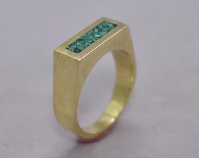 Men's Retro Ring, Men's Geometric Ring, Malachite Inlay Brass Ring, Polished Finish