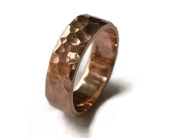 Men's Hammered Bronze Band Ring, Rustic Hammered Red Bronze Wedding Ring, Custom Free Engraving, Rock Texture Matte Ring 6mm