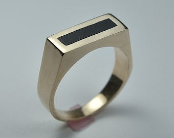 Men's Brass Ebony Ring. Modern Brass Ring with Ebony. Brass Wood Ring. Rectangle Ring  Polished Finish 8mm