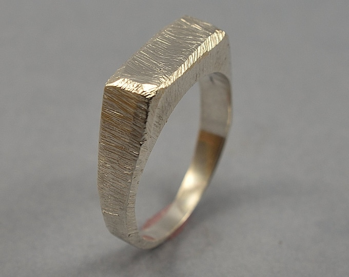 Men's Raw Brushed Silver Ring. Men's Silver Signet Ring. Rustic Silver Signet Ring for Men. Ring Polished Finish