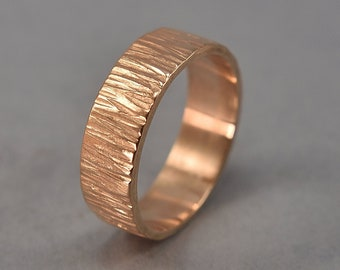 Rustic Wedding Band. Tree Bark Red Bronze Ring. Rings for Him. Polished Finish