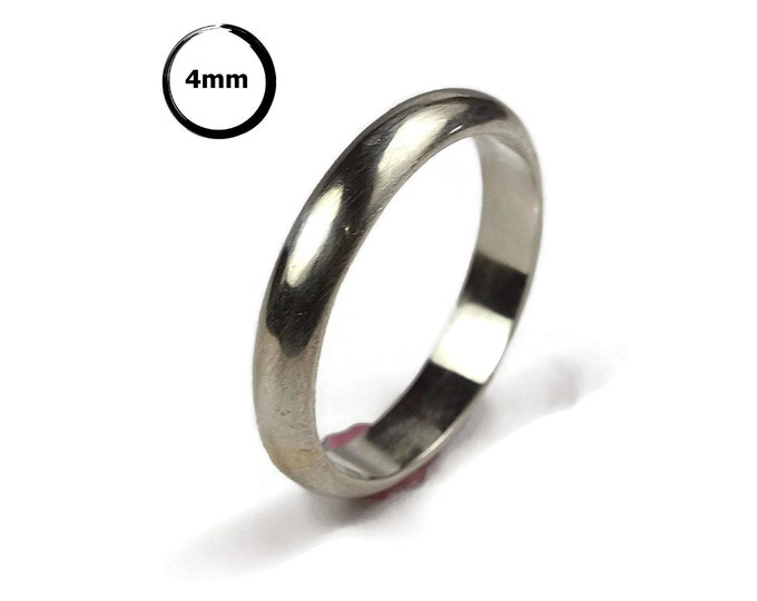 Classic Dome Wedding Ring for Her. Classic Dome Silver Wedding Band for Her. Traditional Silver Wedding Band. Simple Silver Ring Polished