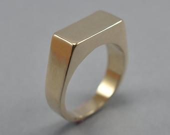 Rectangle Brass Signet Ring. Men's Geometric Signet Brass Ring. Custom Brass Signet Ring for Men. Polished Finish