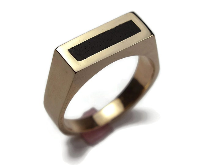 Mens Brass Ebony Ring. Modern Brass Ring with Ebony. Urban Brass Ring Minimalist Style. Rectangle Polished Brass Ring 8mm with Ebony