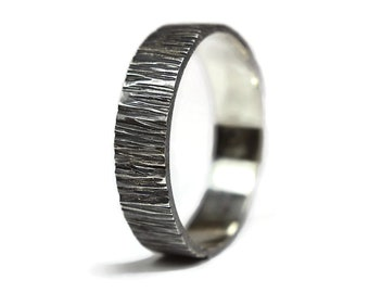 Antique Tree Bark Ring. Antique Silver Tree Bark Ring. Mens Antique Wood Grain Ring. Antique Oxidized Nature Ring 6mm