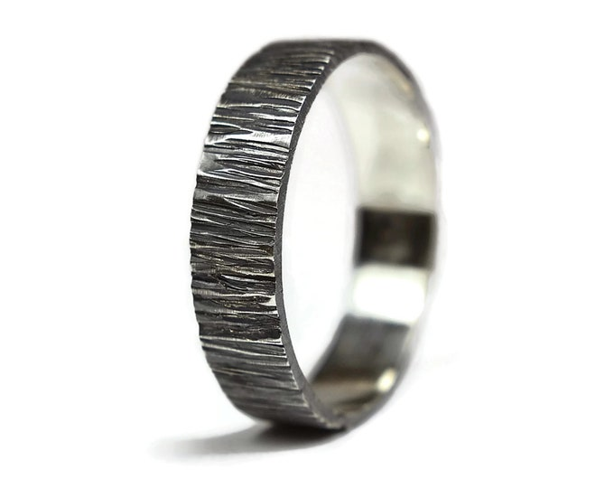Mens Tree Bark Antique Rustic Ring. Rustic Antique Style. Dark Oxidized finished. Wood Grain Textured, Flat Shape 6mm