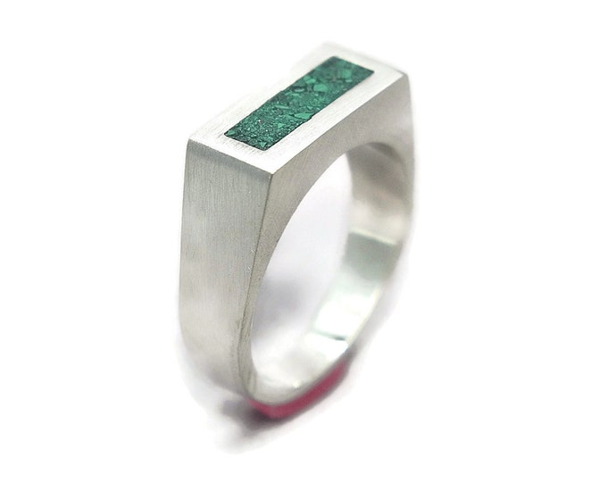Unique Malachite and Silver Ring Men, Mens Green Malachite and Sterling Silver Geometric Ring, Malachite Inlay Ring Matte finish