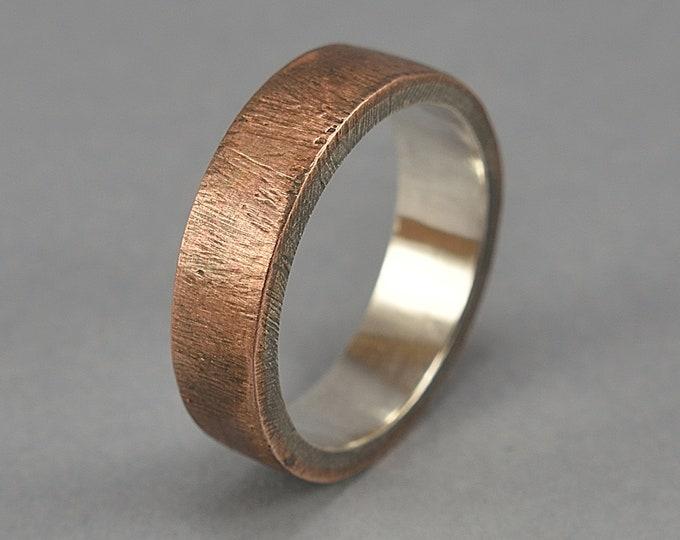 Men's Raw Brushed Antique Copper Wedding Band Ring. Classic Copper Wedding Band. Antique Style. Flat Shape 6mm, Unique Gift for Him