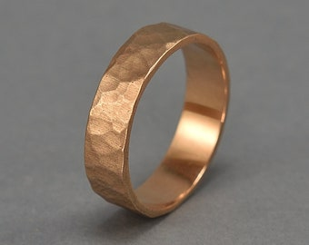 Men's Hammered Bronze Band Ring, Rustic Hammered Red Bronze Wedding Ring, Custom Engraving, Rock Texture Matte Ring 6mm