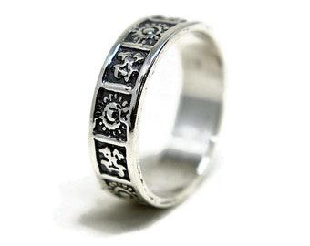 Antique Symbols Ring, Silver Mayan Symbols Ring, Antique Silver Maya Ring, Sterling Silver Symbols Wedding Band Ring