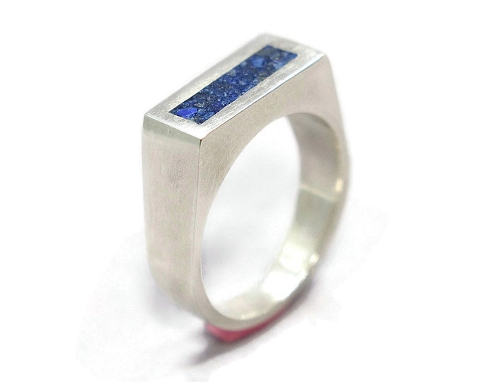 Modern Lapis Lazuli and Silver Ring Men, Men's Blue Lapis Lazuli and Sterling Silver Geometric Ring, Lapis Lazuli Inlay Ring Polished finish