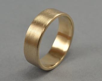 Brass Wedding Ring, Men's Simple Brass Wedding Band, Custom Engraved Brass Ring, Matte Ring 6mm