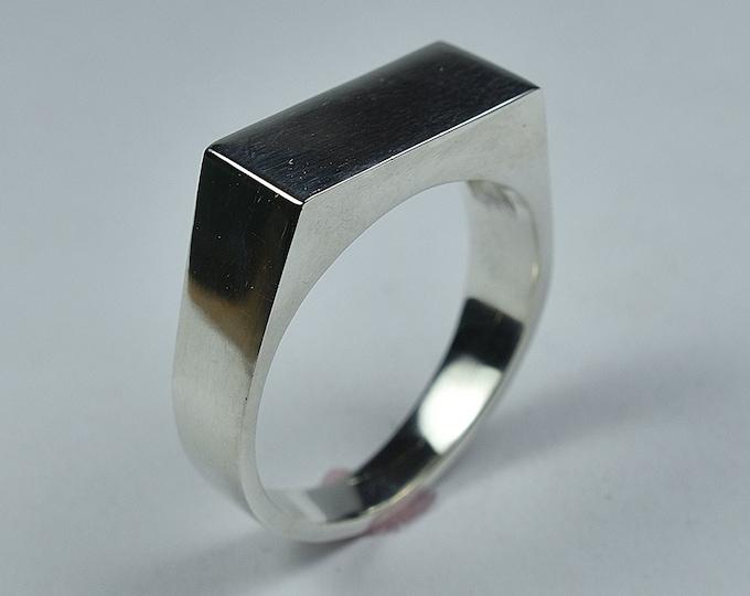Rectangle Silver Signet Ring. Men's Geometric Silver Signet Ring. Signet Ring Polished Finish
