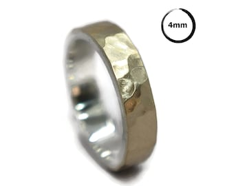 Mens Hammered Gold&Silver Wedding Band Ring. Rustic Hammered Gold Wedding Ring. Free Engraving. Custom Gold Ring Matte 4mm