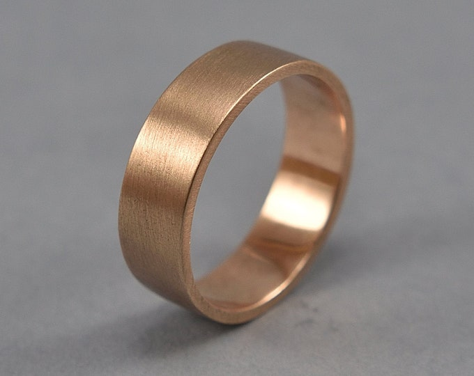 Men's Red Bronze Wedding Band Ring, Simple Bronze Wedding Band, Custom Engraving Bronze Ring, Matte Ring 6mm