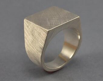 Men's Geometric Signet Ring. Silver Square Signet Ring. Silver Heavy and Solid Signet Ring. Signet Ring Matte Silver