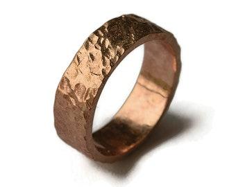Men's Bronze Meteorite Wedding Ring. Rustic Bronze Wedding Band Ring for Men. Engraving Bronze Ring. Gift For Him. Polished Ring 6mm