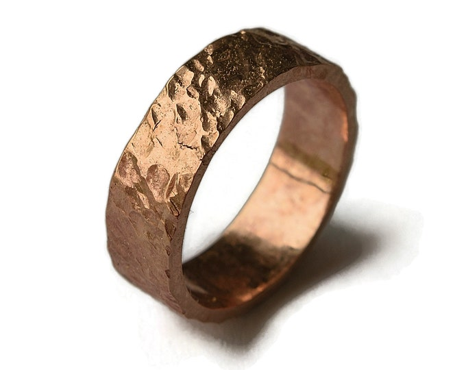 Red Bronze Volcanic Ring | Bronze Rustic Wedding Ring | Custom Lava Ring | Finish Polished