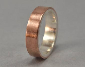Men's Copper Wedding Band Ring. Unisex Copper Wedding Band. Modern Style. Flat Shape. Polished Ring 6mm
