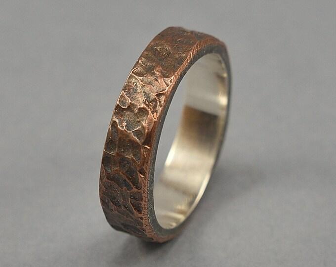 Antique Meteorite Copper Wedding Ring. Men's Antique Rustic Wedding Ring. Custom Meteorite Ring. Antique Oxidized Meteorite Ring 6mm