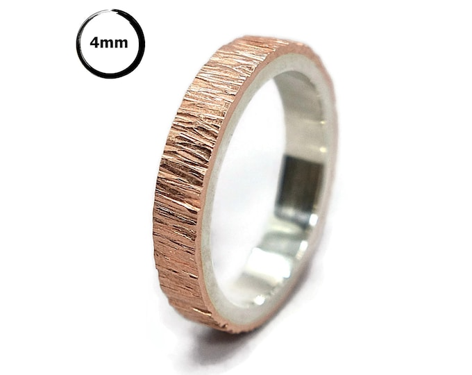 Mens Tree Bark Copper and Sterling Silver Wedding Band Ring Copper Wedding Ring Wood Grain Polished Finish Textured Flat Shape 4mm