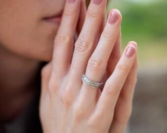 Vintage Floral Silver Wedding Band. Silver Art Nouveau Ring. Art Deco Floral Silver Ring. Matte Finish