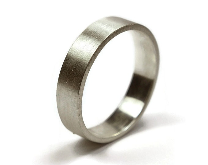 Mens Silver Wedding Band Ring. Mens Personalized Silver Wedding Ring. Custom Free Engraving Silver Ring. Matte Ring 6mm