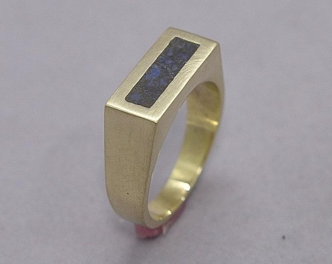 Unique Lapis Lazuli and Brass Ring Men, Men's Lapis Lazuli and Brass Geometric Ring, Lapis Lazuli Inlay Brass Ring Matte Finish