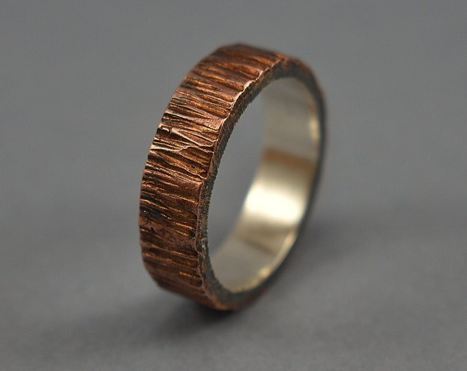 Antique Copper and Sterling Silver Wedding Band For Men, Flat Shape 6mm Wide Hammered Bark Texture, Antique Finish