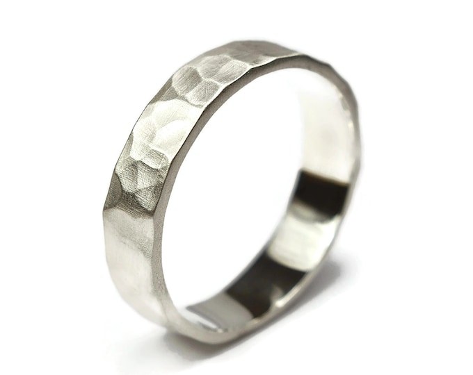 Hammered Sterling Silver Band Ring, Mens Hammered Silver Band Ring, Custom Free Engraving Band Ring, Matte Ring 6mm