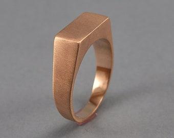 Men's Red Bronze Signet Ring. Custom Bronze Signet Ring. Matte Bronze Signet Ring