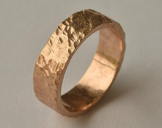 Red Bronze Volcanic Ring | Bronze Rustic Wedding Ring | Custom Lava Ring | Finish Polished
