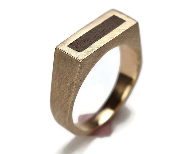 Men's Brass and African Ebony Ring Band Urban Band Ring Custom Signet Matte Engraved Ring Men's Jewelry Men's Accessories Gift for Husband