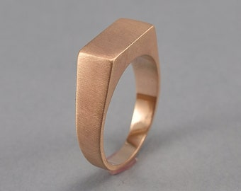 Men's Bronze Signet Ring. Rectangle Red Bronze Signet Ring. Custom Bronze Signet Ring for Men. Matte Finish