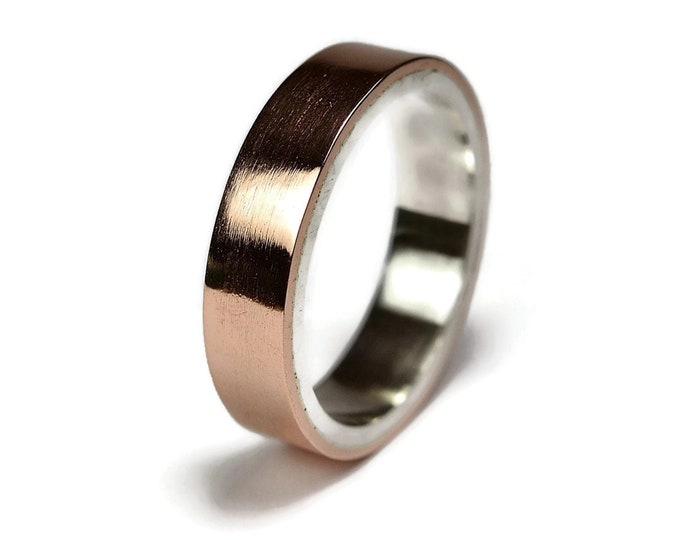 Mens Copper Wedding Band Ring. Unisex Copper Wedding Band. Modern Style. Flat Shape. Polished Ring 6mm
