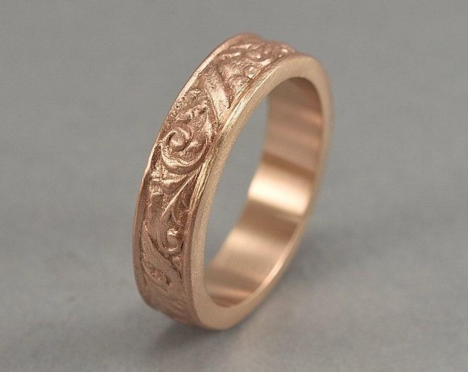 Vintage Floral Bronze Wedding Band. Red Bronze Art Nouveau Ring. Art Deco Floral Red Bronze Ring. Matte Finish