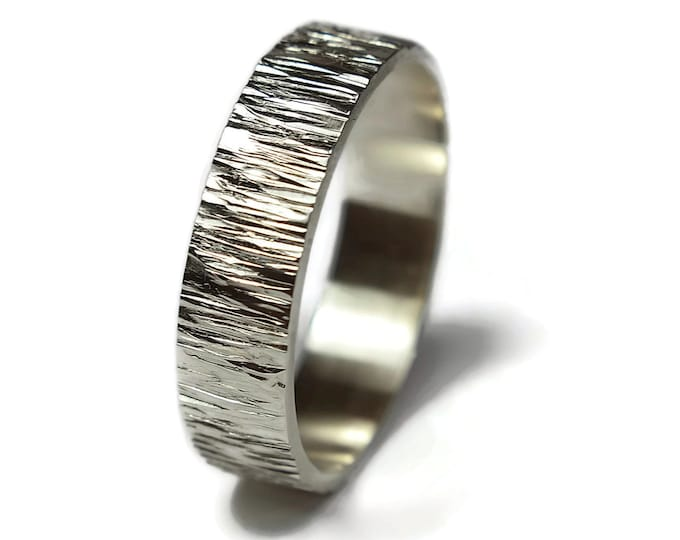 Silver Tree Bark Ring. Silver Nature Wedding Band Ring. Mens Rustic Wedding Ring. Silver Rustic Ring Free Engraving. Polished Ring 6mm
